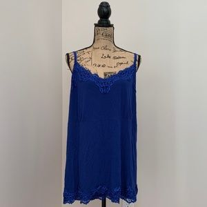 Lane Bryant Blue Lace Cami Tank Top ~ Size 26/28W